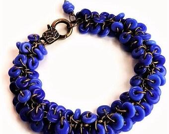 Royal Blue Bracelet Glass Jewelry Vintage Style Charm Bracelet Blue Jewelry Boho Bracelet Statement Jewelry Chunky Bracelet Everyday Jewelry