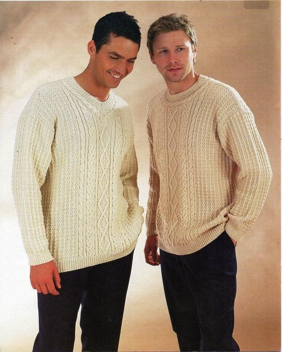Aran Vest Knitting Pattern : mens aran sweaters waistcoat knitting pattern PDF DK mans