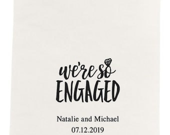 Set of 80 We're So Engaged Print Dinner Size Napkins - Custom Dinner Napkin - Paper Napkin - Engagement Party - Engagement Announcement