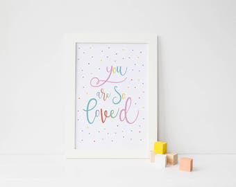 You Are So Loved Print, Pretty Nursery Decor, Pretty Bedroom Art, New Baby Gift, Girls Room Art, Baby Shower Gift, Nursery Art Prints Girls