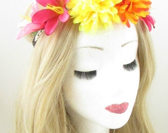 Hot Pink Orange Yellow Lily Flower Headband Garland Festival Boho Stretch 917