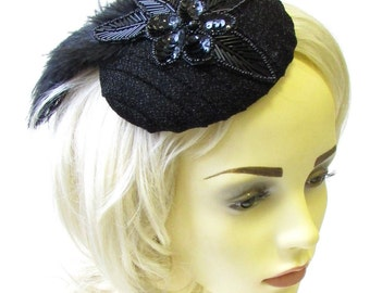 Black Sequin Ostrich Feather Bead Hat Fascinator Races Ascot Headpiece Vtg 1630