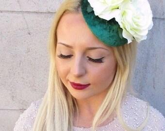 Ivory Cream Emerald Green Velvet Rose Flower Fascinator Hair Clip Races 50s 2423