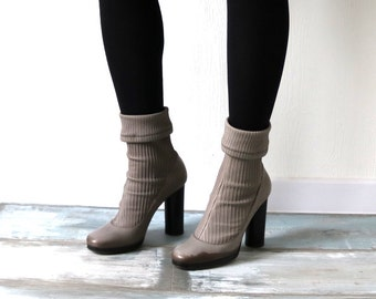 DOLCE & GABBANA Vintage Taupe Grey Sock Shoe High Column Heel Ankle Boots Booties