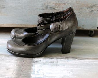 MISS SIXTY Gray Leather High Heel Square Toe Shoes Made in Italy Size 39/6/8.5
