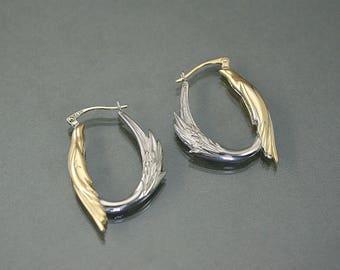 Silver and gold hoop, phoenix earring, bird hoop, silver and 14 k solid gold earring, symbolic gift, handmade, bird jewelry, wedding gift