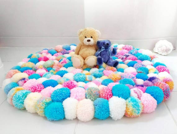 Unicorn coloured Pom Pom rug girls bedroom rug fluffy