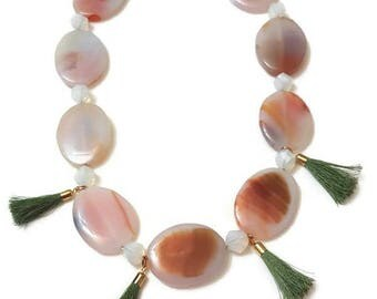 Gemstone Tassel Necklace - Gemstone Bib Necklace - Tassel Bib Necklace - Boho Gemstone Necklace - Boho Bib Necklace - Boho Tassel Necklace