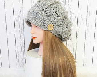 Camille Newsboy Slouch Hat, Women's Slouchy Ribbed Hat