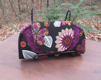 """READY to Ship--""""Cleo"""" Wallet/Mini Clutch made with Coordinating Floral print, Fuchsia and Black Fabric"""