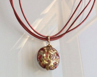 Murano Necklace Brick Red, Gold and Cooper with Leather Cord. Murano Glass Pendant. Italian Jewelry. Venetian Pendant Orange Brown Necklace