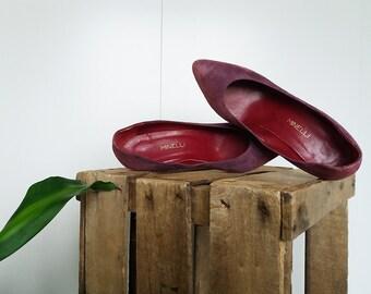 Vintage shoes, vintage shoes, vintage 80s Minelli leather nubuck Sweden Purple Purple Purple Eggplant Purple old pink size 38.5