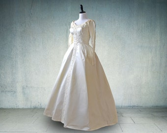 1950s Wedding Gown with Sleeves Ivory Satin Bridal Originals Royal Wedding