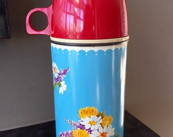 Vintage 1950s THERMOS HOLTEMP, 50s Turquoise Floral Thermos, Coffee Thermos, Thermos Brand Product