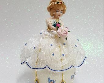 Decorated Goose Egg.     Ballerina doll.
