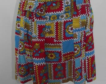 Vintage 70s 80s red blue yellow floral pleated heavy cotton skirt skirt size small