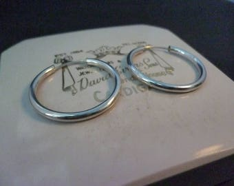 "Silver hoop earrings - 925 - sterling silver - 0.8"" x 0.8"""