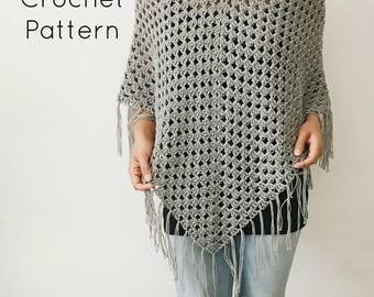 CROCHET PATTERN - Crochet Lightweight Poncho, Crocheted Fringe Shawl, Beginner / Intermediate DIY Easy Wrap - The Wildflower Poncho