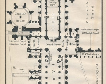 1910 Wells Cathedral United Kingdom (Great Britain) Antique map