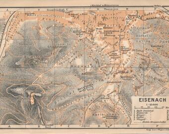 1910 Eisenach Germany Antique Map