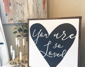 you are so loved square framed wood art