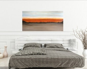 Blue Brown Orange Original Landscape Painting, Southwestern Art, Modern Abstract Painting, High End Artwork, Original Artwork