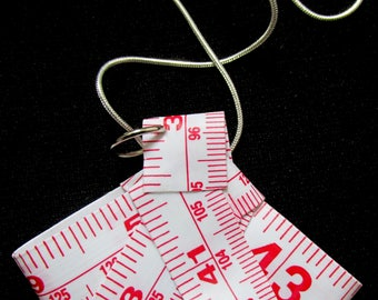 Recycled white tape measure novelty origami fan pendant necklace