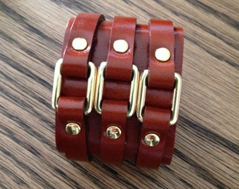 Chunky Leather Cuff in Brown with Gold Hardware