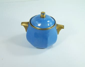 Gold and blue sugar bowl Aluminite  Limoges porcelain by René Frugier vintage  Made in France