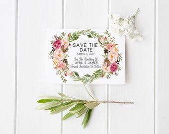 Wedding Save the Date Engagement Save the Date Floral Boho Wedding Save the Date Calligraphy Wedding Invite