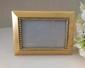 Gold Picture frame 4x6,  Table number frame, Rhinestone frane, Bling frame, Bridemaids gift, Wedding decor, gift