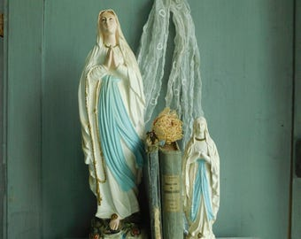 Virgin Mary statues  2 madonna statues  Large Religious statue   Plaster statues  French vintage statue  Madonna sculpture
