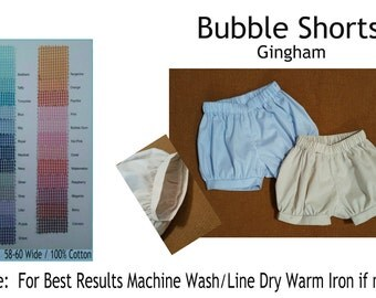 Bubble Shorts Gingham Shorts Many Colors Embroidery Blank UnLined Elasticized Waist MTO