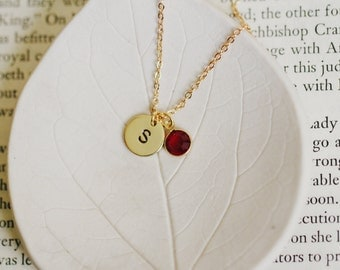 Initial Necklace with Birthstone / Gold Initial Necklace / Swarovski Birth Stone Link / Hand Stamped Initial / Personalized Monogram Jewelry