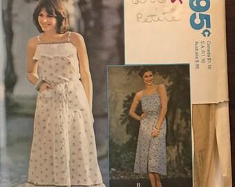 McCalls 6056 - 1970s Sleeveless Back Wrap Dress with Halter Neckline in Midi Length - Size Petite 6 8