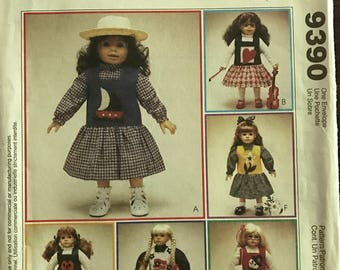 "McCalls 9390 - Donna's Country Collection Dolls Jumper Blouse and Top with Applique Options - Size 18"" Doll"