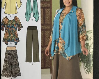 Simplicity 2195 - Khaliah Ali Center Seam Tunic or Top, Draped Vest, and Pants or Skirt with Wide Waistband - Size 10 12 14 16 18