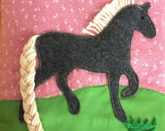 Horse, Unicorn Quiet Book Page PDF Pattern - Braid activity