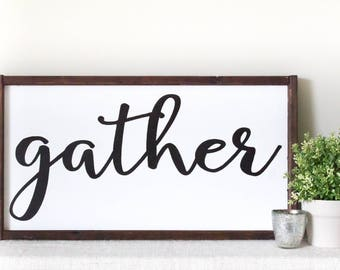 Gather Sign Dining Room Decor Farmhouse Style Wood Framed