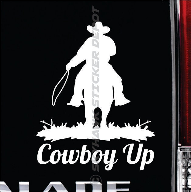 Cowboy Up Bumper Sticker Vinyl Decal Cowboy Hat Western - Cowboy custom vinyl decals for trucks