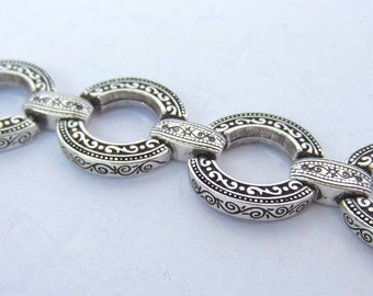 BRIGHTON signed Silver tone, Japanned SCROLL ring Link BRACELET ~chunky, pretty, vintage costume jewelry