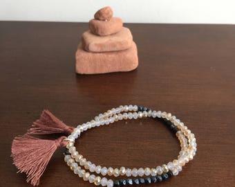 Sedona themed Set of two iridescent Multicolor Boho crystal bead bracelets stretch bracelet Handmade elastic bracelet strand bracelet tassel