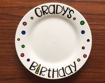 Birthday Plate - Childrens Birthday Gift - Customized Childrens Birthday Plate - Special Occasion Plate - Hand Painted Plate - Custom Gift