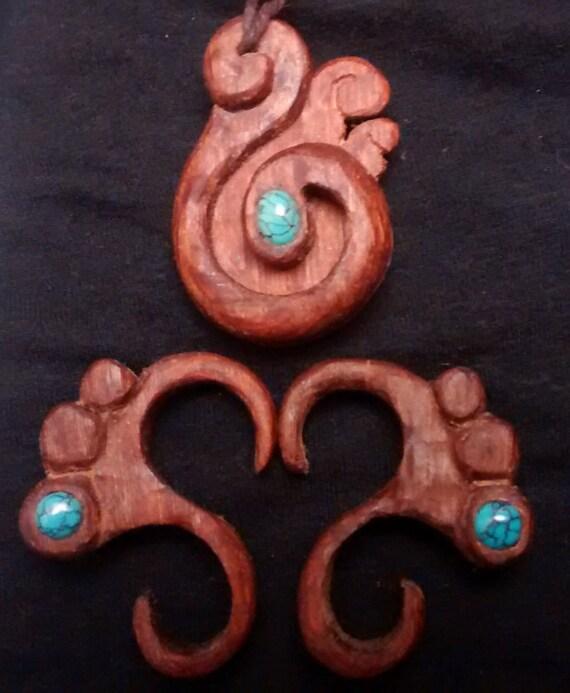 tribal jewelry set, worry jewelry set, thread cutter, knife necklace