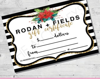Rodan and Fields Gift Certificate | INSTANT DOWNLOAD | HOLIDAY Stripes