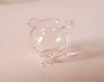 Miniature Dollhouse Glass Bowl Cauldron Footed Punch Bowl Fishbowl Centerpiece 1:12 Scale FS