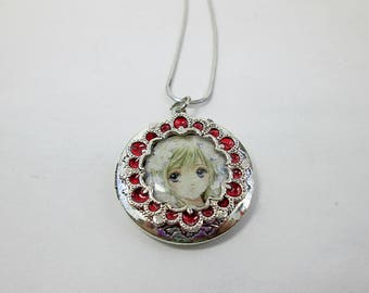 Silver Manga Art Necklace Locket Anime Cosplay Fandom Gift Cherished Keepsake Necklace Treasured Gift Memorial Locket Necklace Manga Jewelry