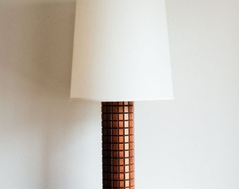 Mid Century Table Desk Lamp brass base wood w/ Shade