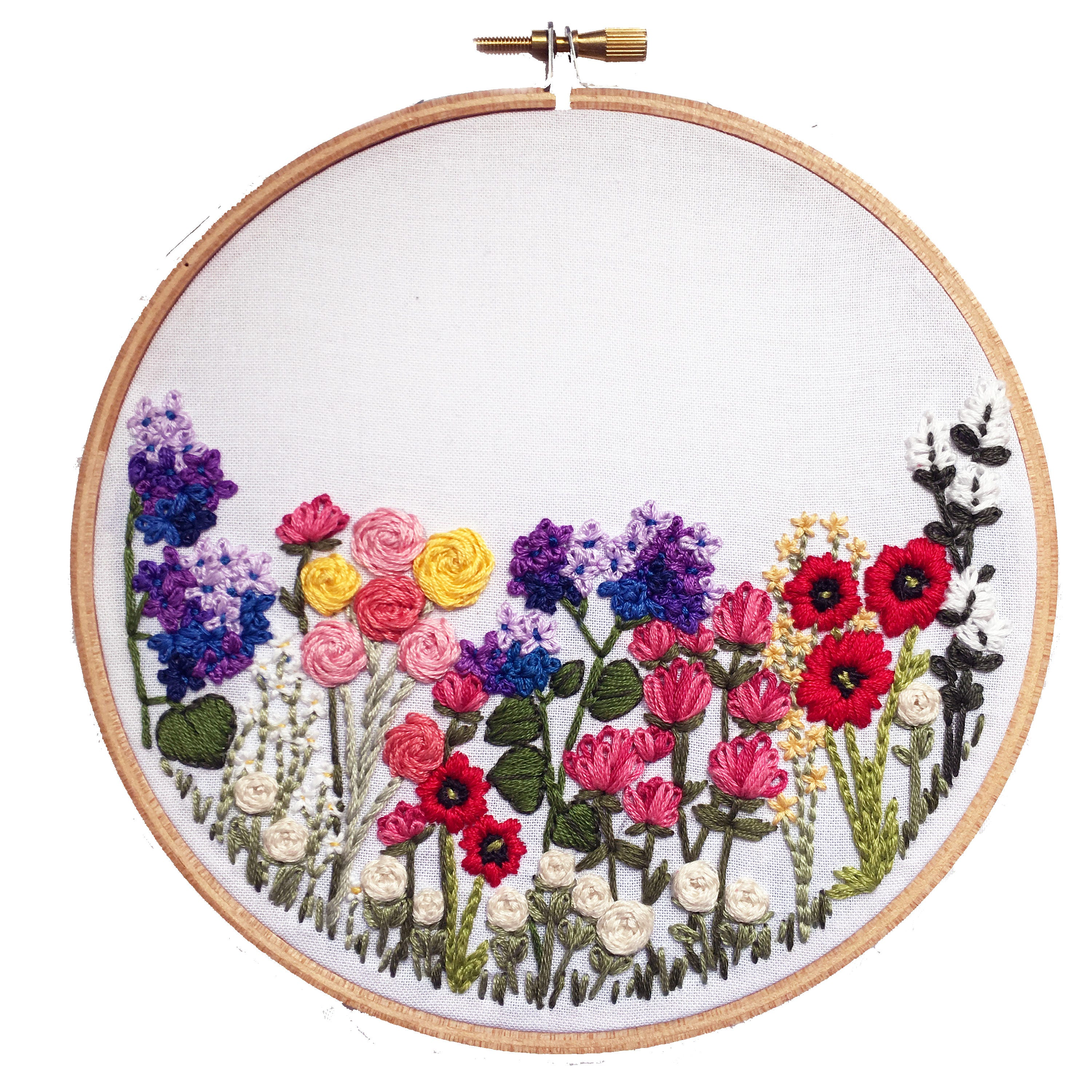 Printable flower hand embroidery pattern diy
