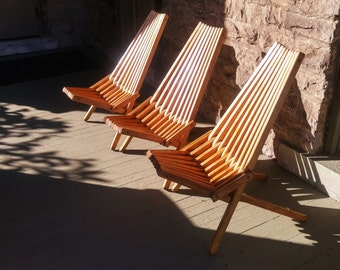 Outdoor Furniture, Recessed Hardware, Medium Walnut Finish, Adirondack Chair, Accent Chair, Camping, Folding Patio Chair